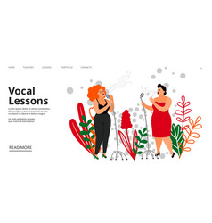 vocal lessons landing page singing school vector image