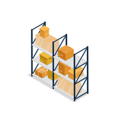 Warehouse shelves interior element isometric icon vector