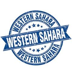 Western Sahara blue round grunge vintage ribbon vector