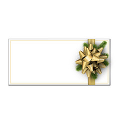 white christmas card with golden bow vector image