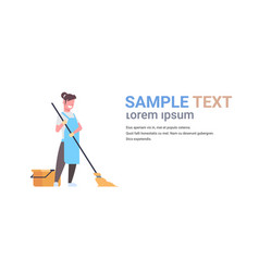woman in gloves and apron washing floor girl using vector image