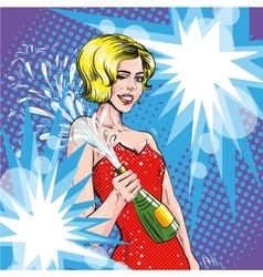 woman with champagne retro vector image