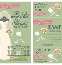 Bridal shower invitation setbridal dressbouquet vector