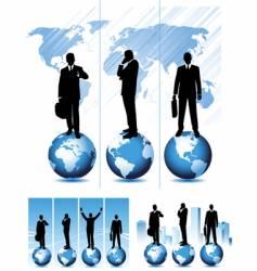 global business set vector image