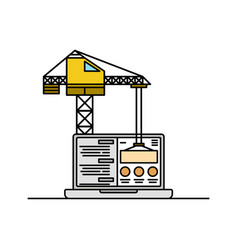 laptop and crane icon thin line website in under vector image