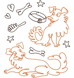 Set of Funny Doodle Dogs vector image