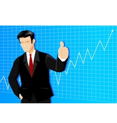 Businessman with line graph vector image vector image