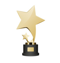 golden trophy cup with large and small star icon vector image