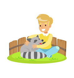 happy little boy sitting on green grass and vector image