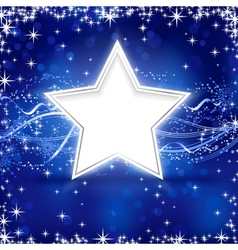 Blue silver Christmas star background vector image vector image