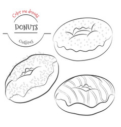 donuts outline set collection of contour donuts vector image vector image
