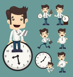 Set of businessman and clock vector image vector image