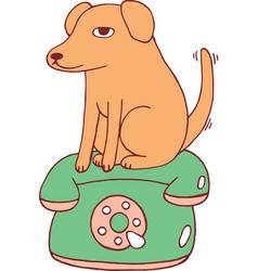 yellow dog on the retro telephone doodle cartoon vector image