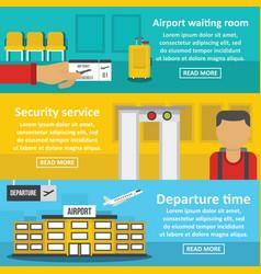 airport banner horizontal set flat style vector image