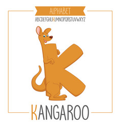 alphabet letter k and kangaroo vector image