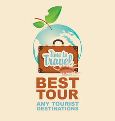 banner with suitcase and seashell on tourist theme vector image vector image