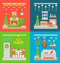 Christmas interior decoration flat design vector image