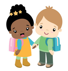 cute school girl and boy holding hands vector image