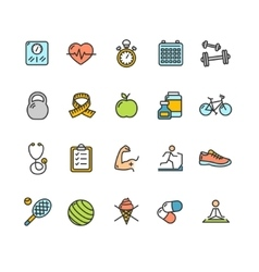 Health Fitness Icon Color Set vector image vector image