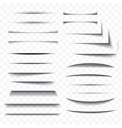 realistic paper shadow effect set transparent vector image