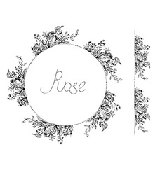 Rose flowers frame and design elements for card or vector image vector image