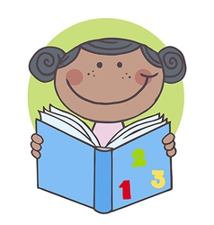 African American Kid Girl Reading A Book vector image vector image