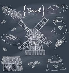 Bakery doodle set vector image