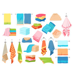 Bath towel hand kitchen towels textile cloth for vector