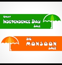 Big Monsoon and Independence Day sale banner vector