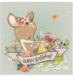 birthday little deer with flowers vector image