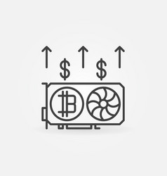 bitcoin video card mining outline concept icon or vector image
