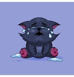Black cat is crying vector