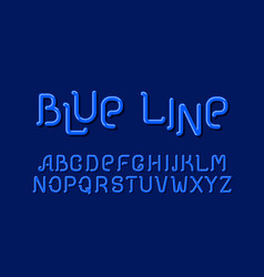 blue line sign design letter set style vector image