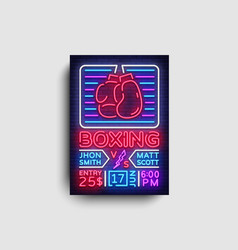 boxing poster neon boxing night design vector image