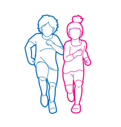 Boy and girl running together children running ca vector
