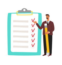 businessman and checklist man holding pencil and vector image