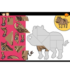 Cartoon warthog jigsaw puzzle game vector