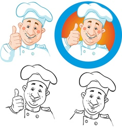 Chef icon and outline vector