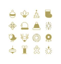 christmas design stylish set decorative icons vector image