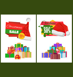 Christmas sale cards on half price off stickers vector