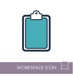 clipboard outline icon workspace sign vector image