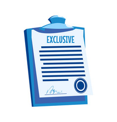 clipboard with paper document signature agreement vector image