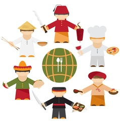 cuisine nations of the world flat design with vector image