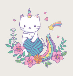 cute caticorn with floral decoration and ball of vector image