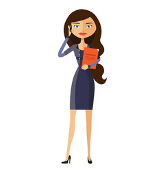 Cute young lady happy on the phone flat vector
