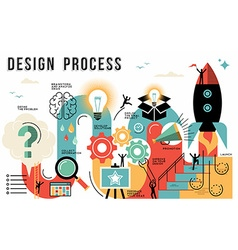 Design process flat line art concept infographic vector