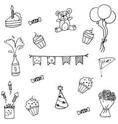 Doodle art of many set birthday vector
