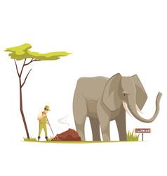 Elephant at zoo cartoon composition vector