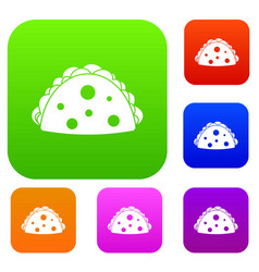 Empanada cheburek or calzone set color collection vector