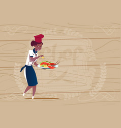 female african american chef cook holding tray vector image vector image
